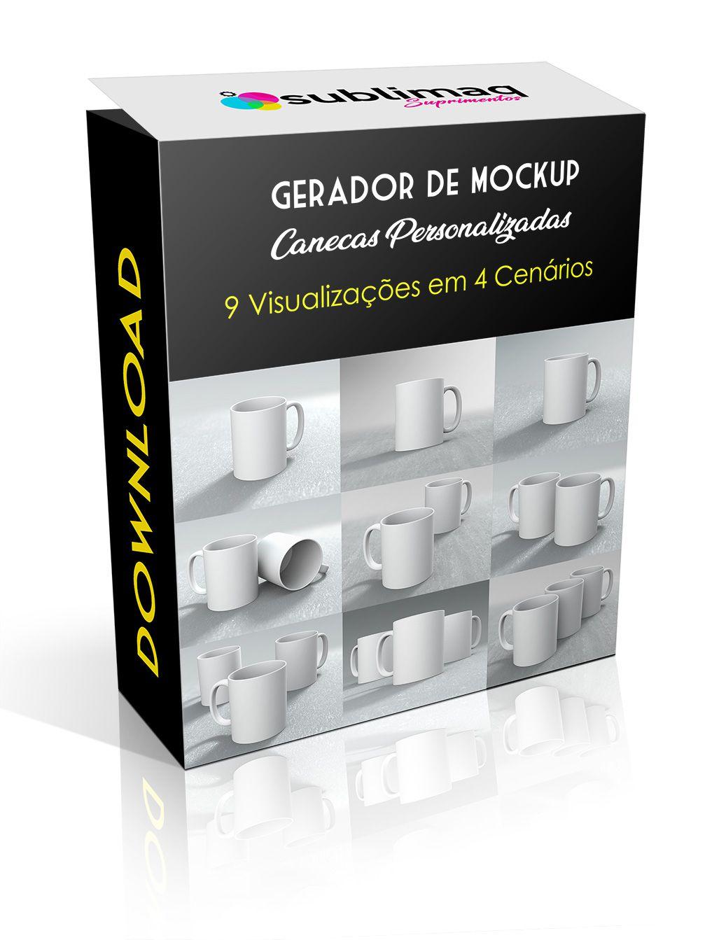 Kit Prêmium Gerador de Mockups para Canecas Personalizadas em 9 Cenários Variados