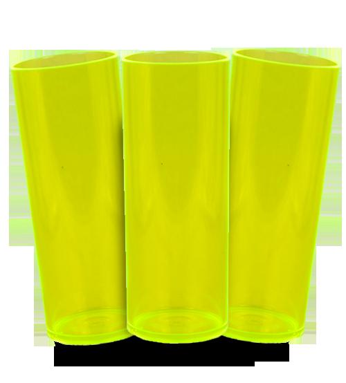 Long Drink Prêmium - Amarelo Translucido Neon - Espessura 2mm - Cx C/ 100 Unidades