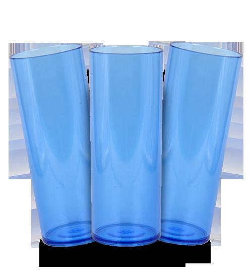 Long Drink Prêmium - Azul Translucido - Espessura 2mm - Cx c/ 100 Unidades