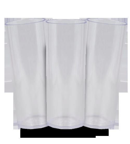 Long Drink Prêmium - Cristal Transparente - Espessura 2mm - Cx c/ 100 Unidades