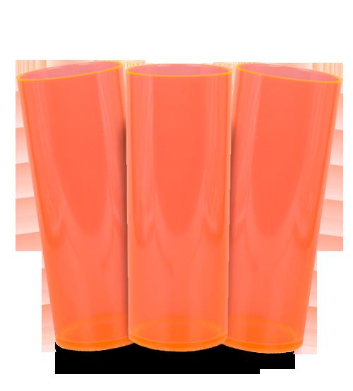 Long Drink Prêmium - Laranja Translucido Neon - Espessura 2mm - Cx c/ 100 Unidades