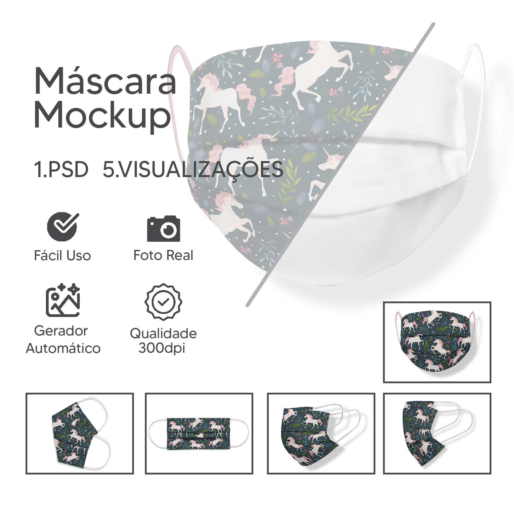Máscara Facial Mockup - Editável