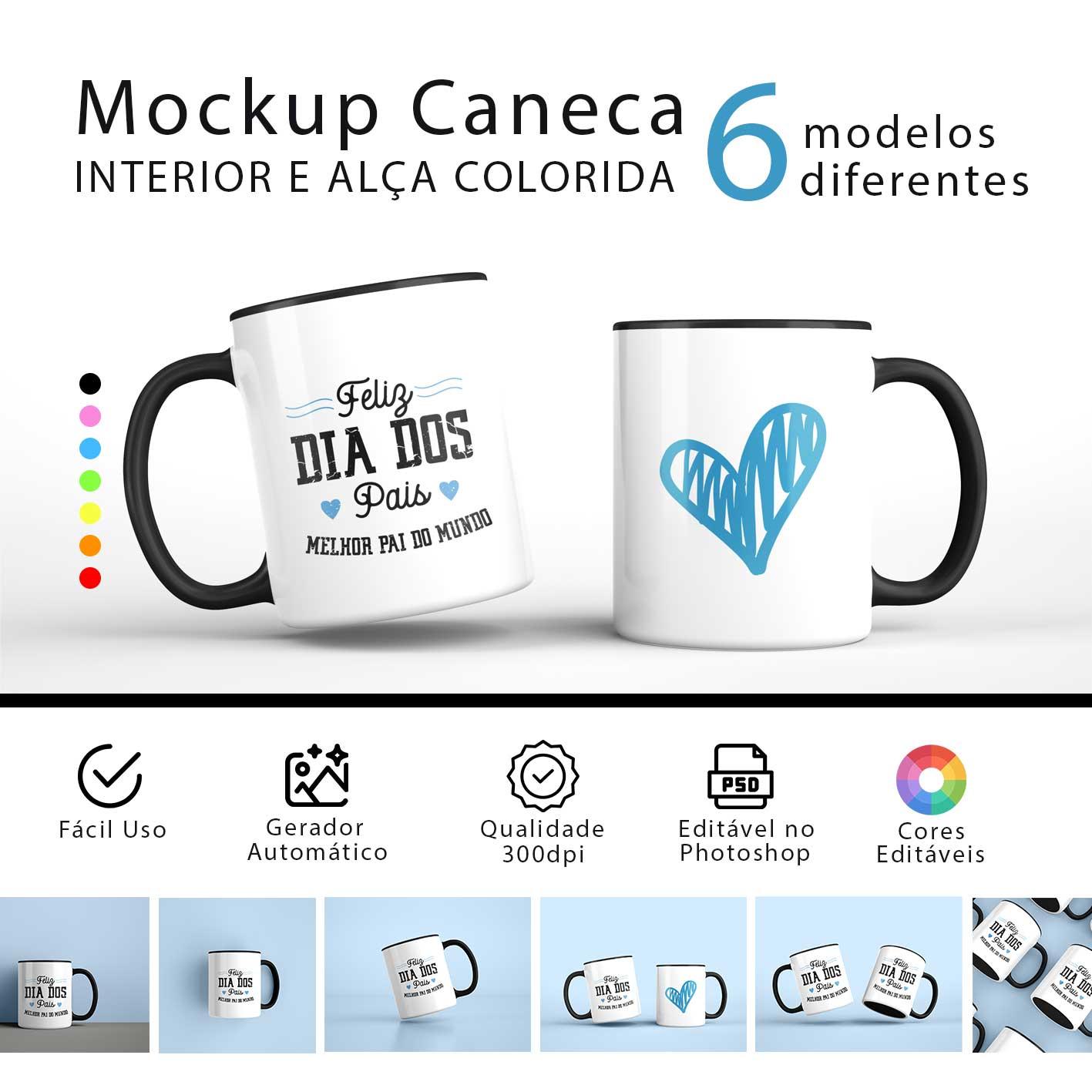 Mockups para Caneca Colorida - 6 Modelos
