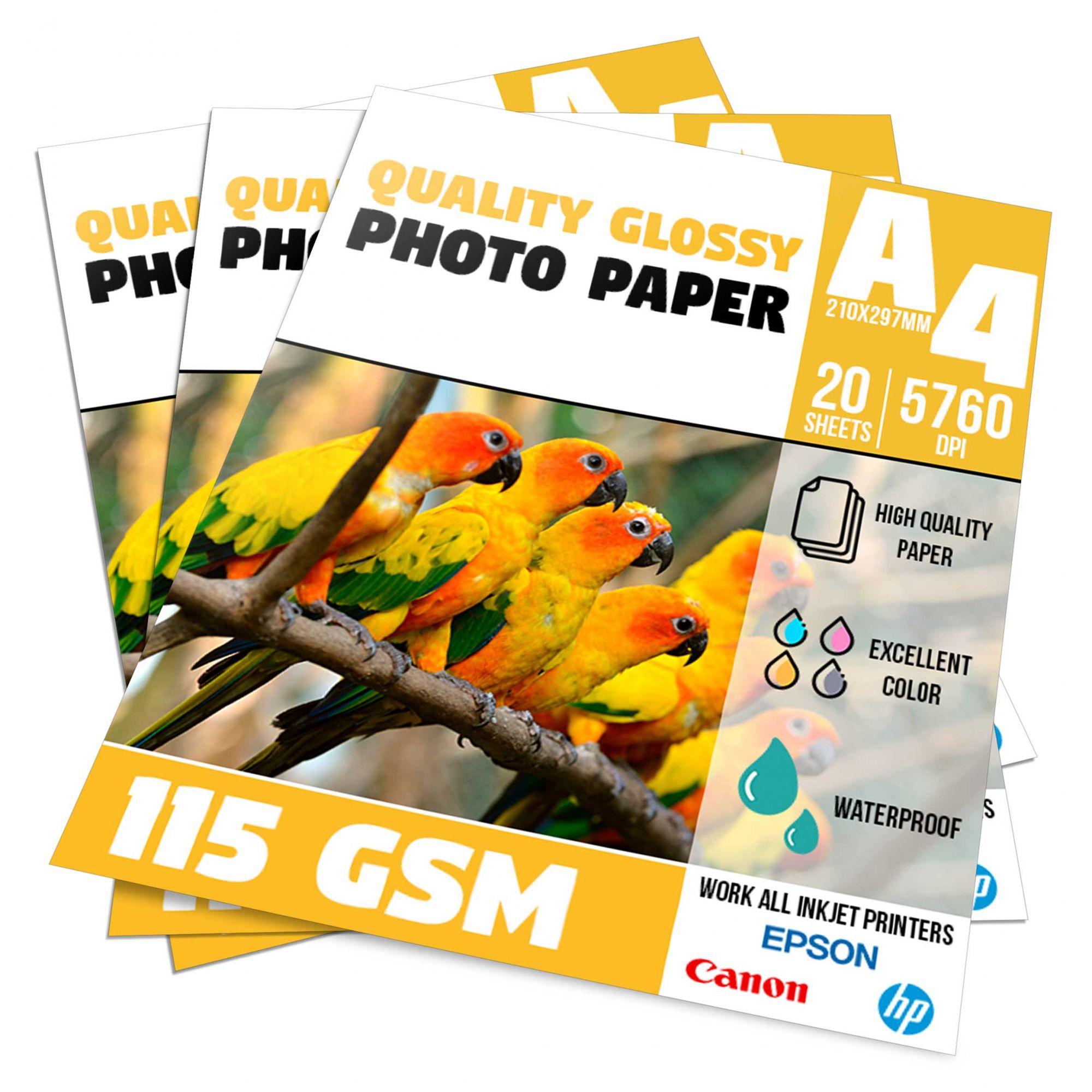 Papel Fotográfico Glossy Brilhante - 115g - A4 Pacote com 20 folhas