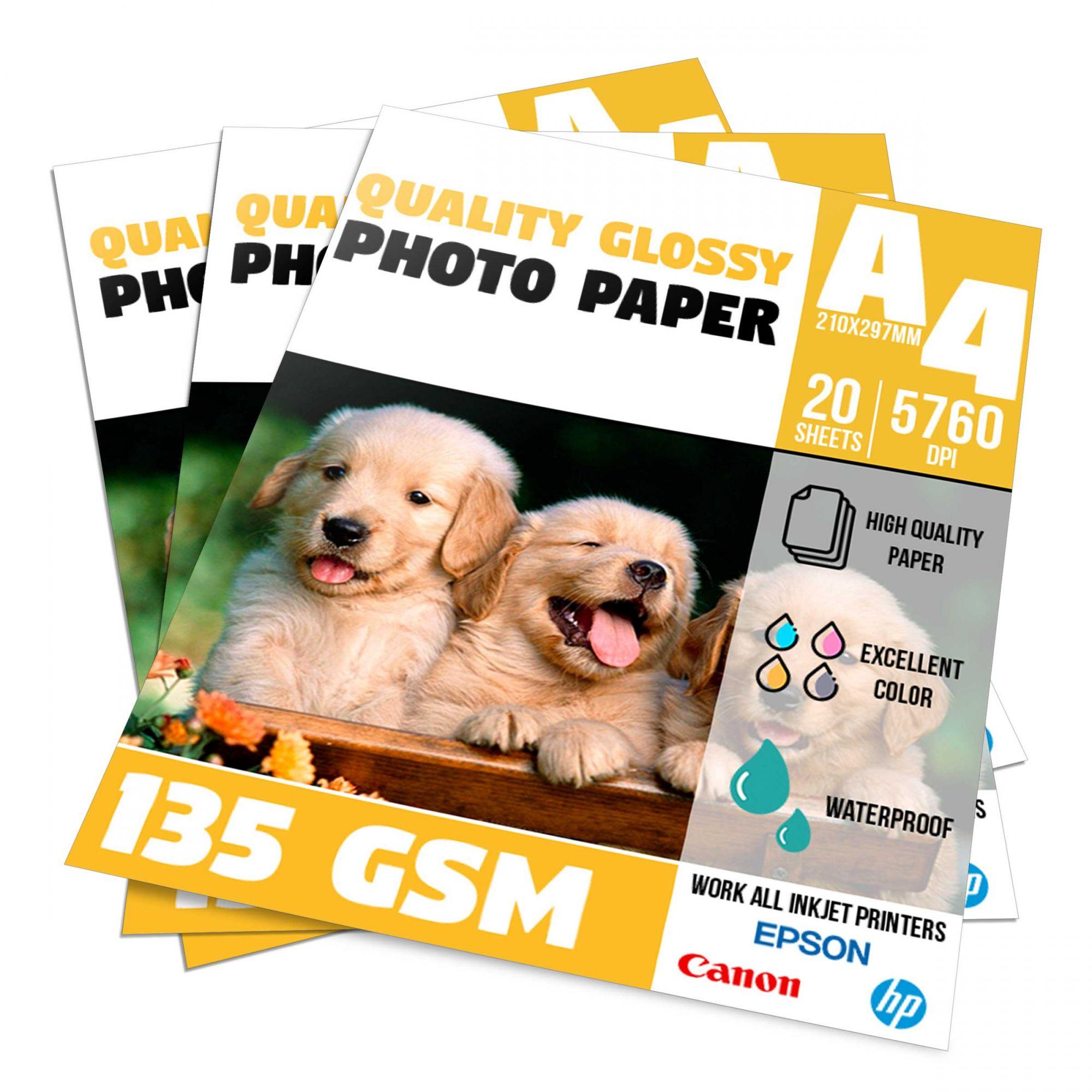 Papel Glossy Photo Paper 135g - A4 Pacote com 20 folhas