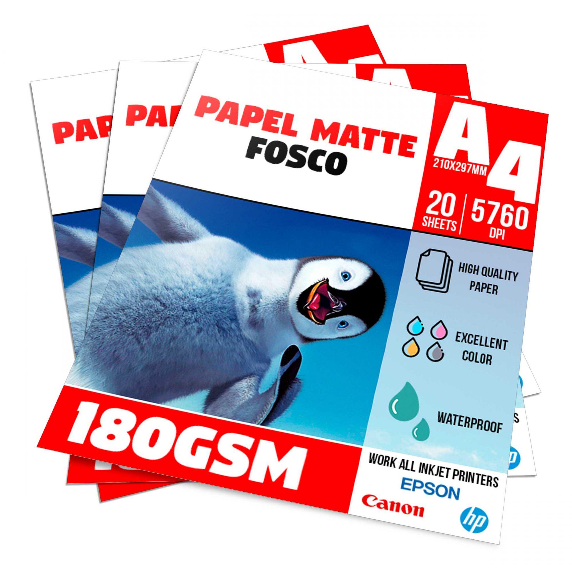Papel Matte Fosco 180g - A4 Pacote com 20 folhas