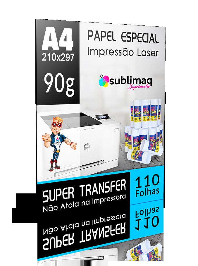 Papel para Impressão Laser - Super Transfer - Superfícies Rígidas - Pacote c/ 220 folhas A4 - 90g