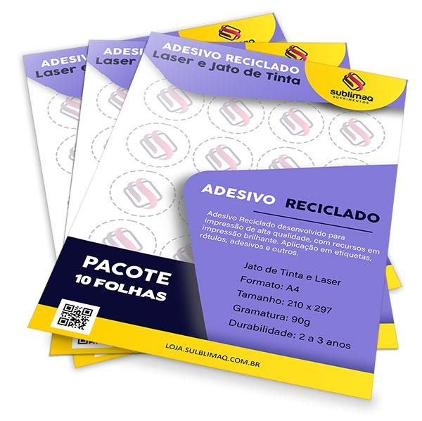 Papel Reciclado Adesivo para Impressão Jato de Tinta ou Laser - Pcto c/ 10 fls A4