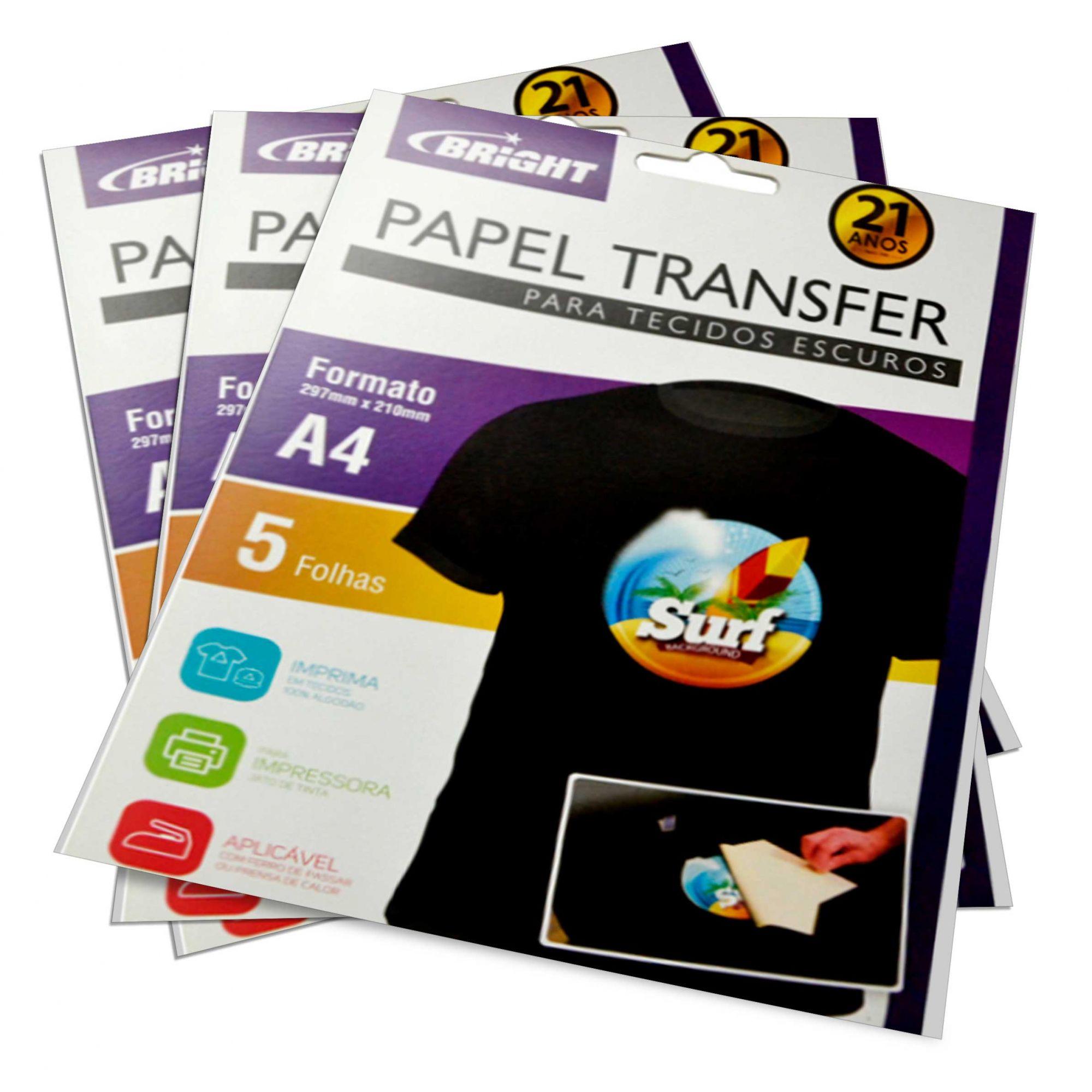 Papel Transfer Dark para Tecidos Escuros - A4 Pacote com 5 Folhas
