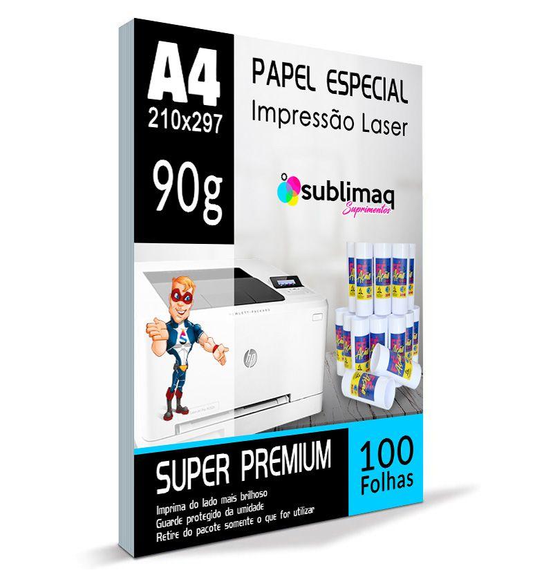 Papel Transfer  Laser - Super Prêmium - Superfícies Rígidas - Pacote c/ 100 folhas A4 - 90g