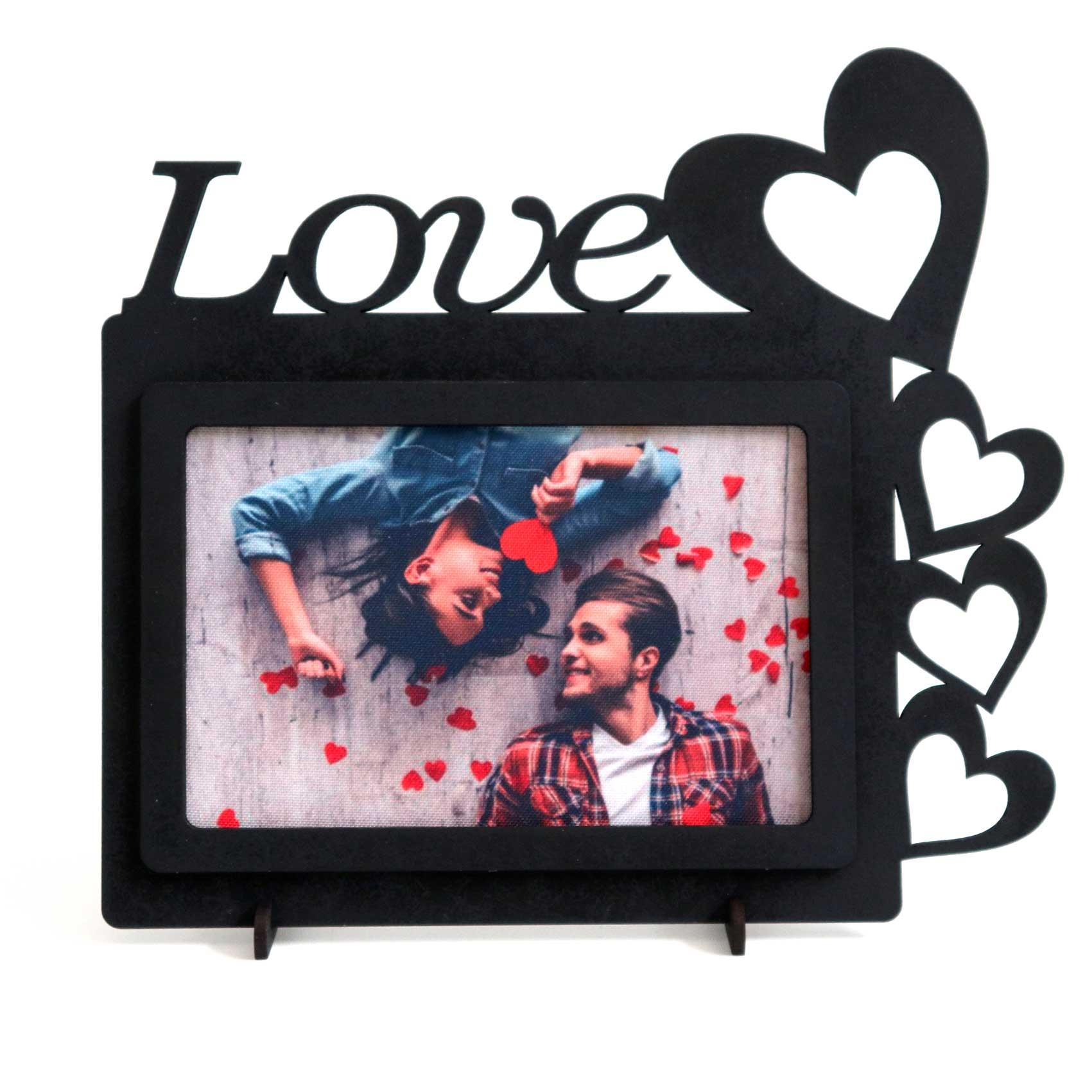 Porta Fotos MDF - Com Frase Love