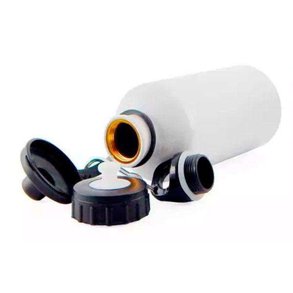 Squeeze Branco C/ 2 Tampas 600 ml - Possui Bico dosador e Tampa com Mosquetão - de Aluminio para sublimação -
