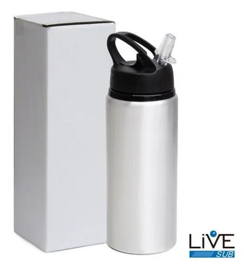 Squeeze de Aluminio Big Mouth  600 ml - Branco -  para Sublimação - Live