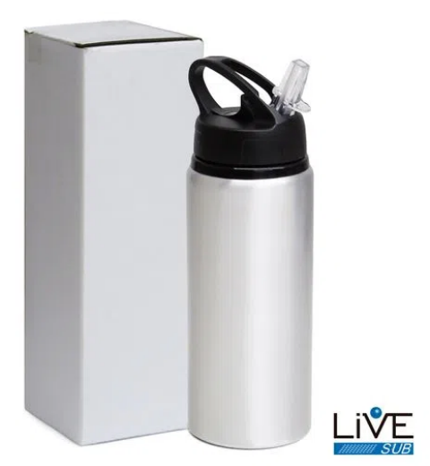 Squeeze de Aluminio Big Mouth  600 ml - Prata -  para Sublimação - Live