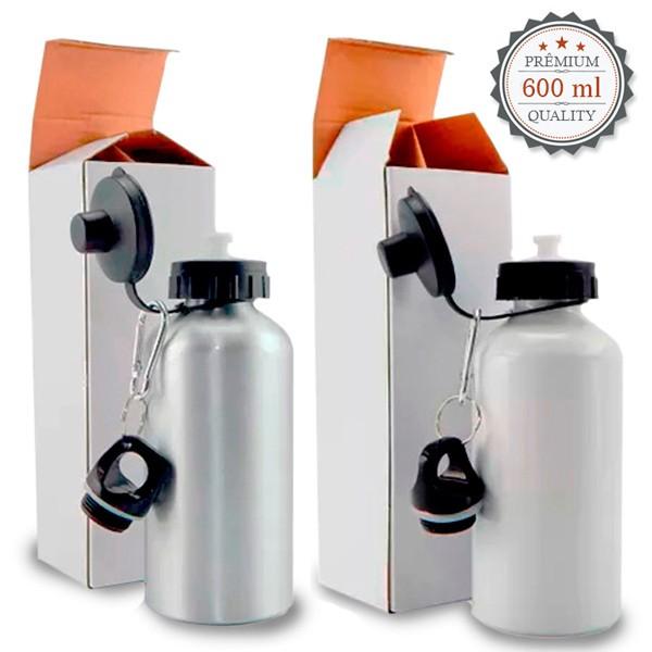 Squeeze  de Aluminio C/ 2 Tampas 600 ml - Possui Bico dosador e Tampa com Mosquetão Branco e Prata