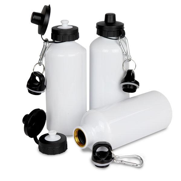 Squeeze de Aluminio C/ Tampa Dupla 600 ml Branco - Possui bico dosador e tampa com mosquetão