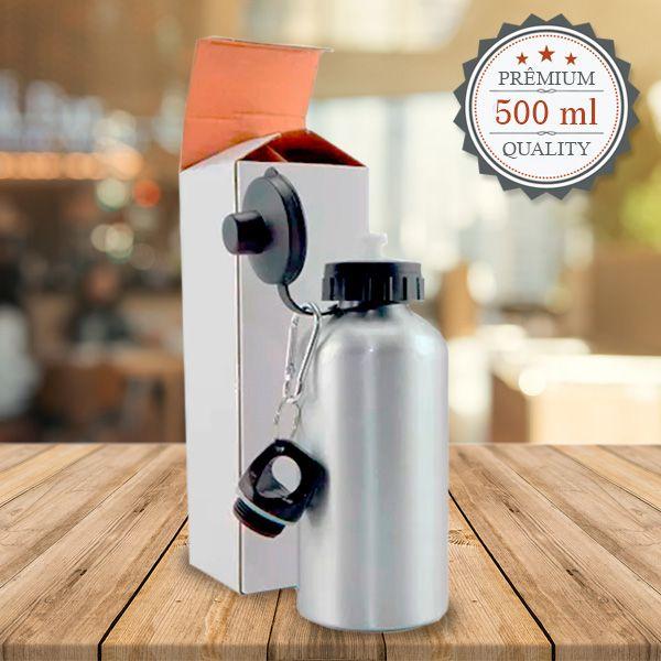 Squeeze Prata C/ 2 Tampas 500 ml - Possui bico dosador e tampa com mosquetão - Aluminio para sublimação