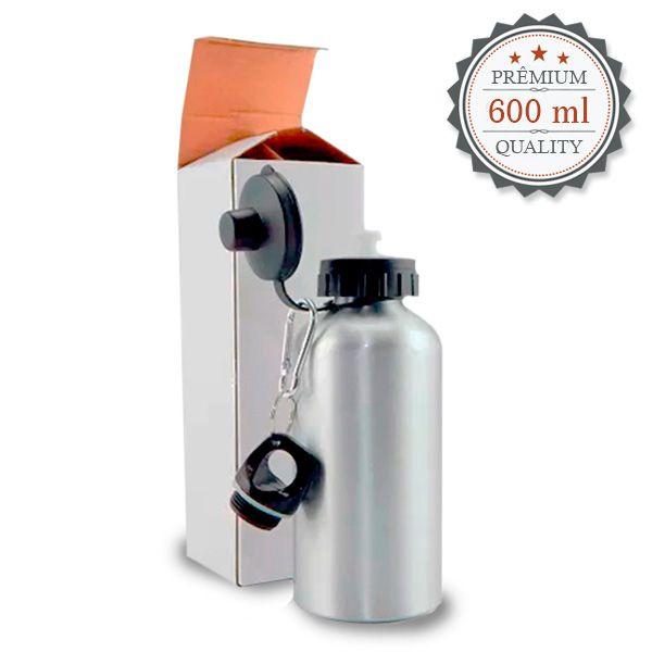 Squeeze  Prata C/ 2 Tampas 600 ml - Possui Bico dosador e Tampa com Mosquetão - de Aluminio para sublimação -