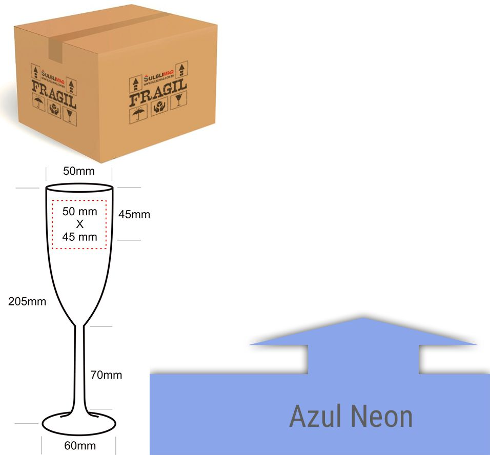 Taça de Formatura 180 ml - Azul Neon Light - Cx c/ 12 Unidades
