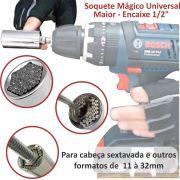 "Soquete Mágico Universal Multidimensional Maior c/ Encaixe 1/2"""