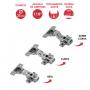 Dobradiça De Pressão Com Amortecedor e Click 35mm Para Porta de Móvel Convencional 110º Graus