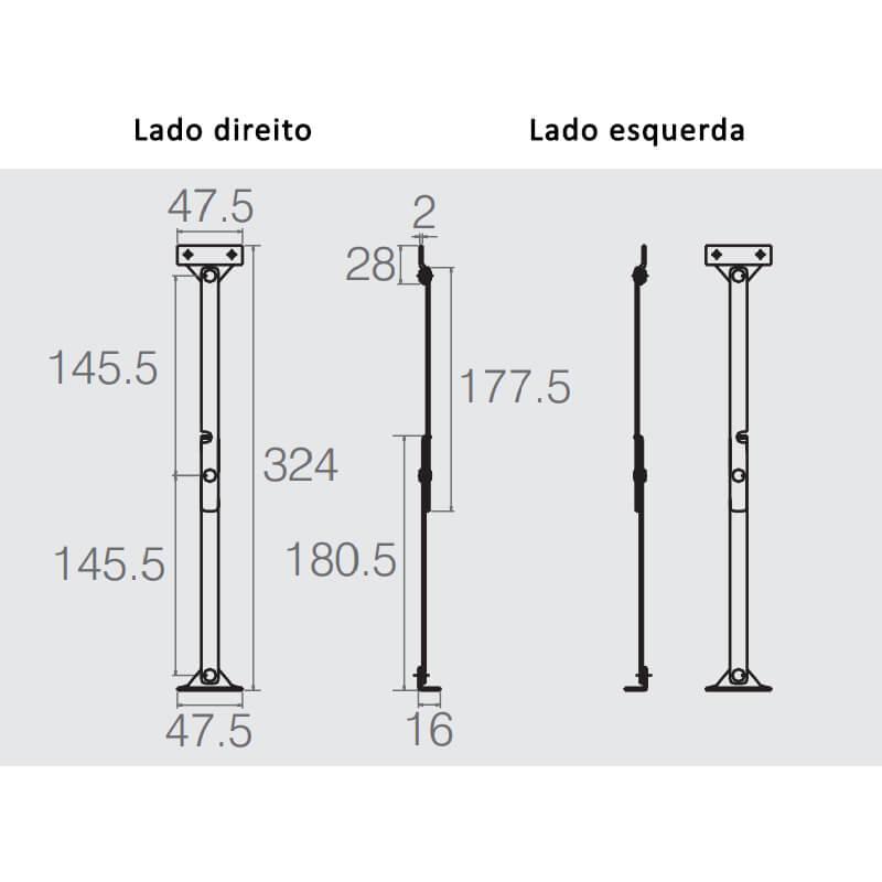 Articulador com Trava para  Porta Basculante (Direito e Esquerdo)