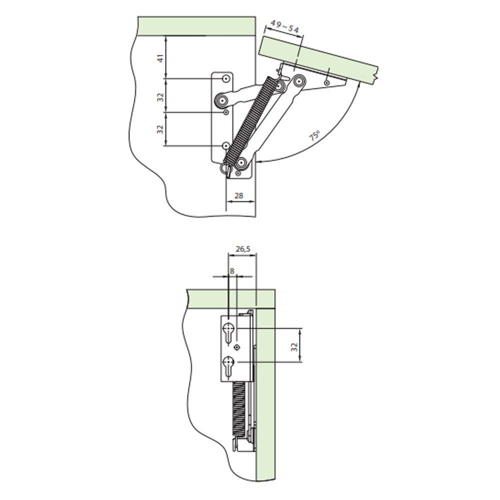 Articulador Flap FgvTn 902 Para Portas Basculantes 4Kg Com Abertura 75°