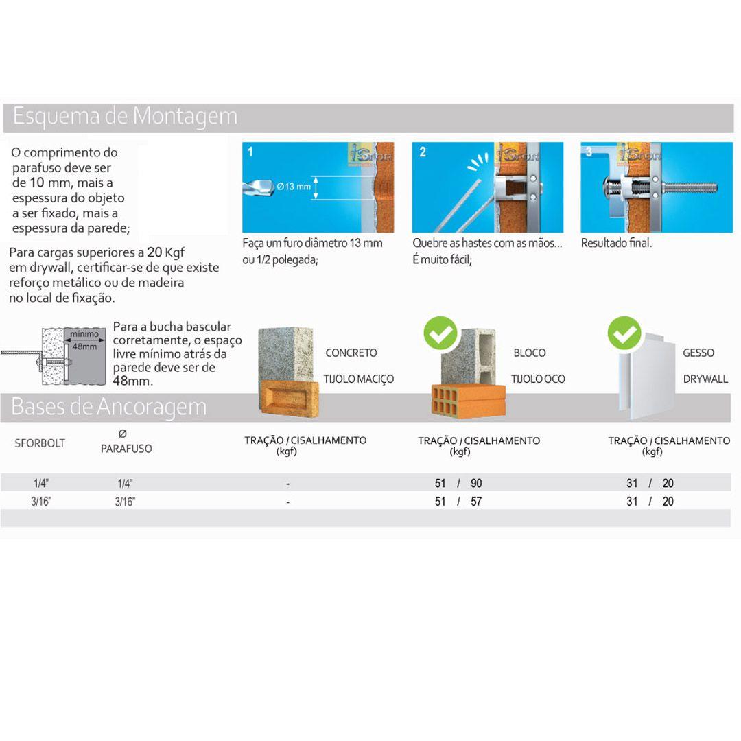 """Bucha Metálica Sforbolt 1/4"""" Para Gesso e Drywall Com 2pçs e Parafusos"""