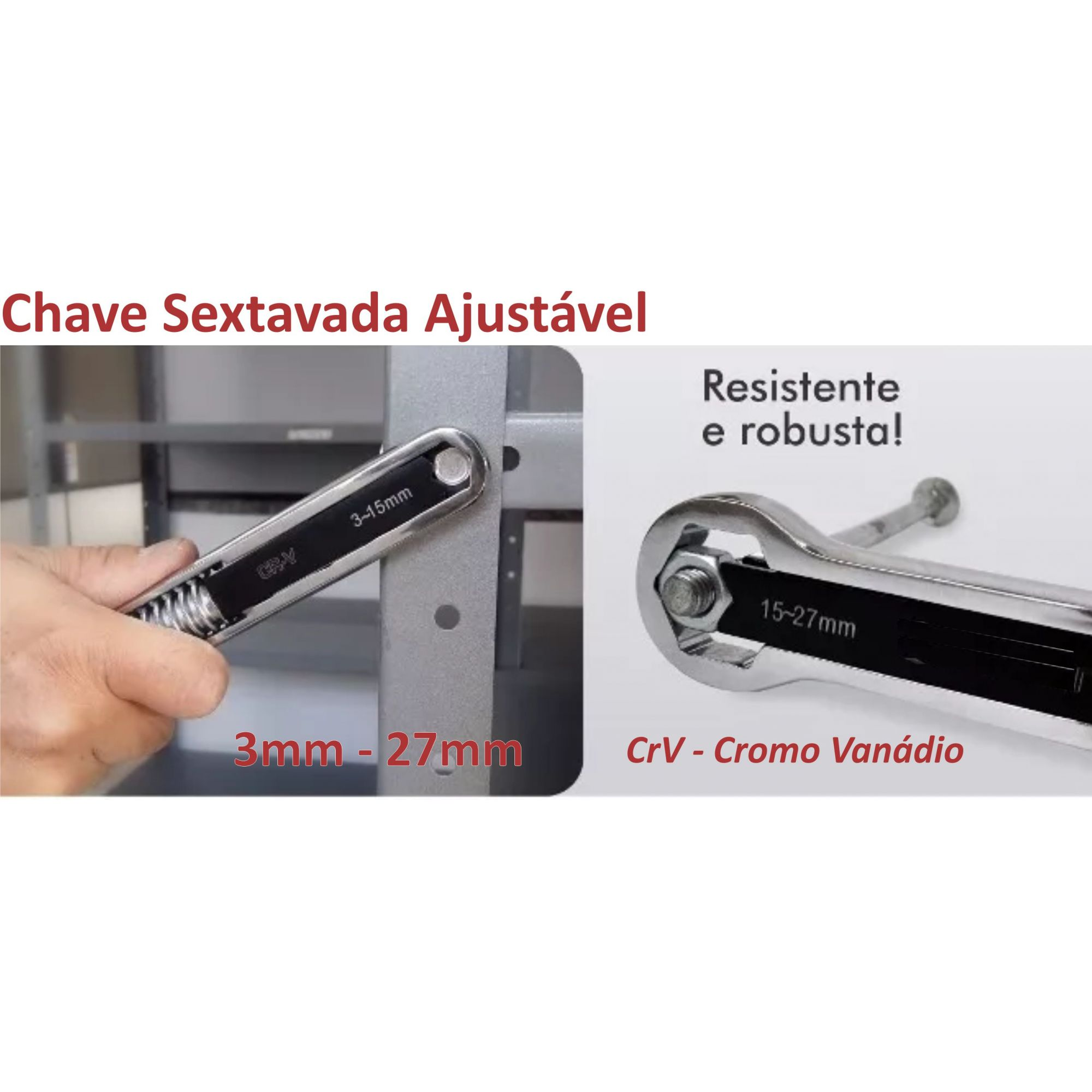 Chave Sextavada Ajustavel de 5-27mm