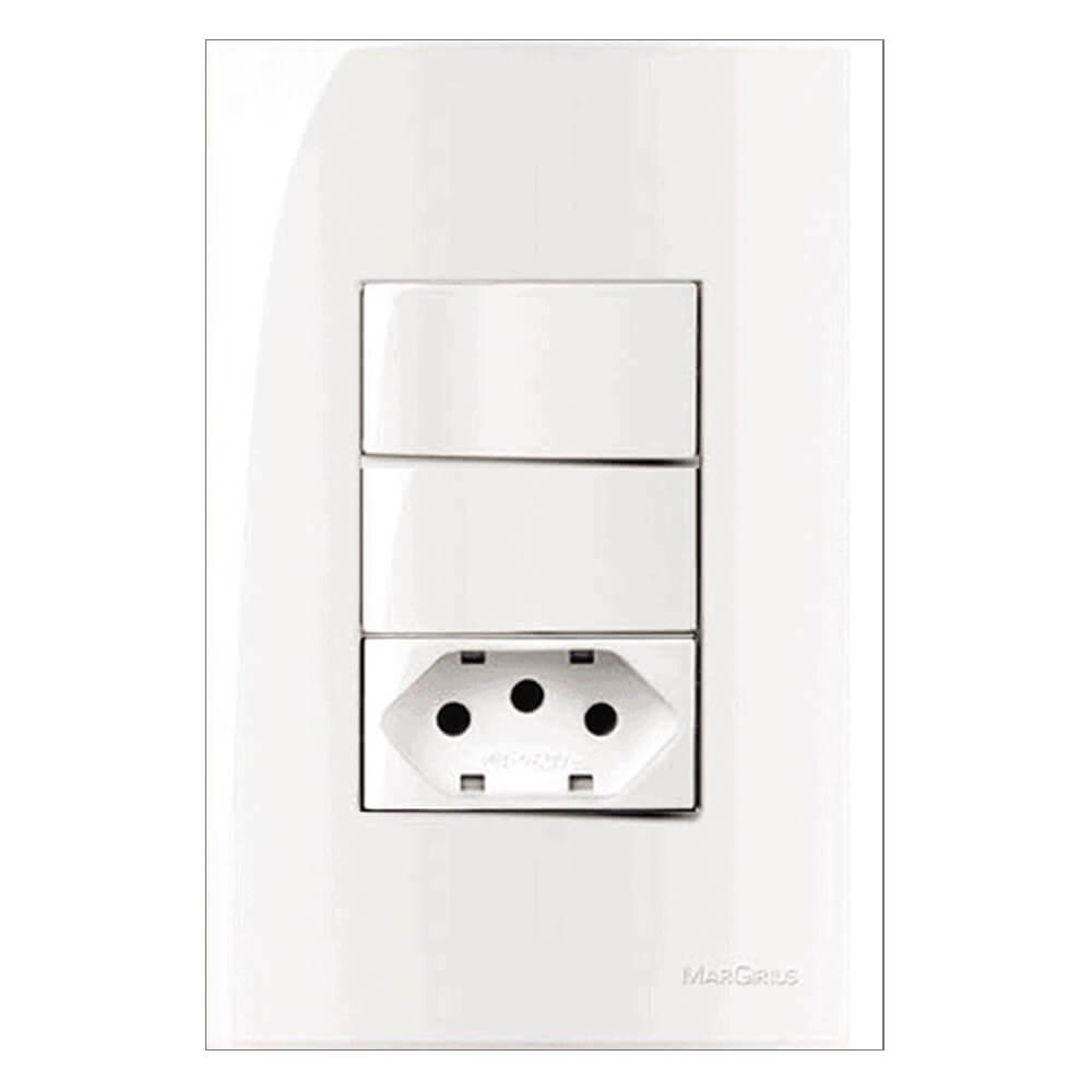 Conjunto Completo 4x2 com espelho, 1 tomada e 1 interruptor Branco