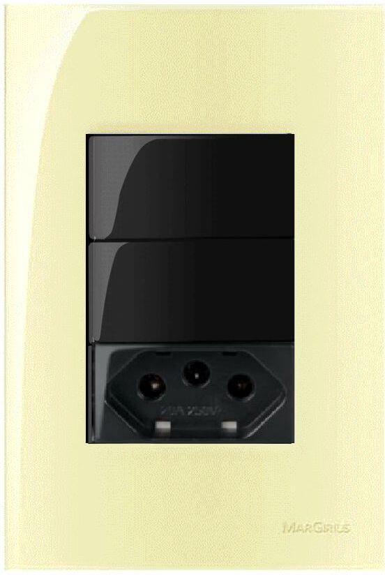 Conjunto completo 4x2 com tomada e interruptor Preto