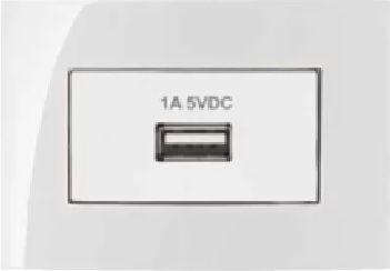 Conjunto de Espelho Branco Suporte e Módulo Tomada USB para Móvel
