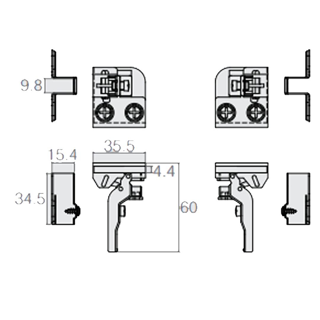 Conjunto Dobradiça P/ Porta de vidro 4mm