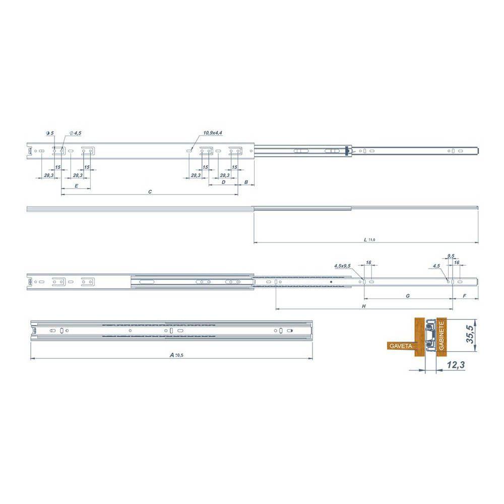 Corrediça Telescópica Light Trilho Para Gavetas até 30Kg H35