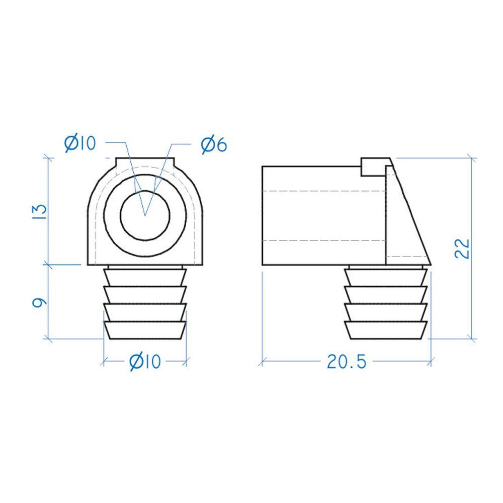 Dispositivo Trapézio de Plástico 10x9mm