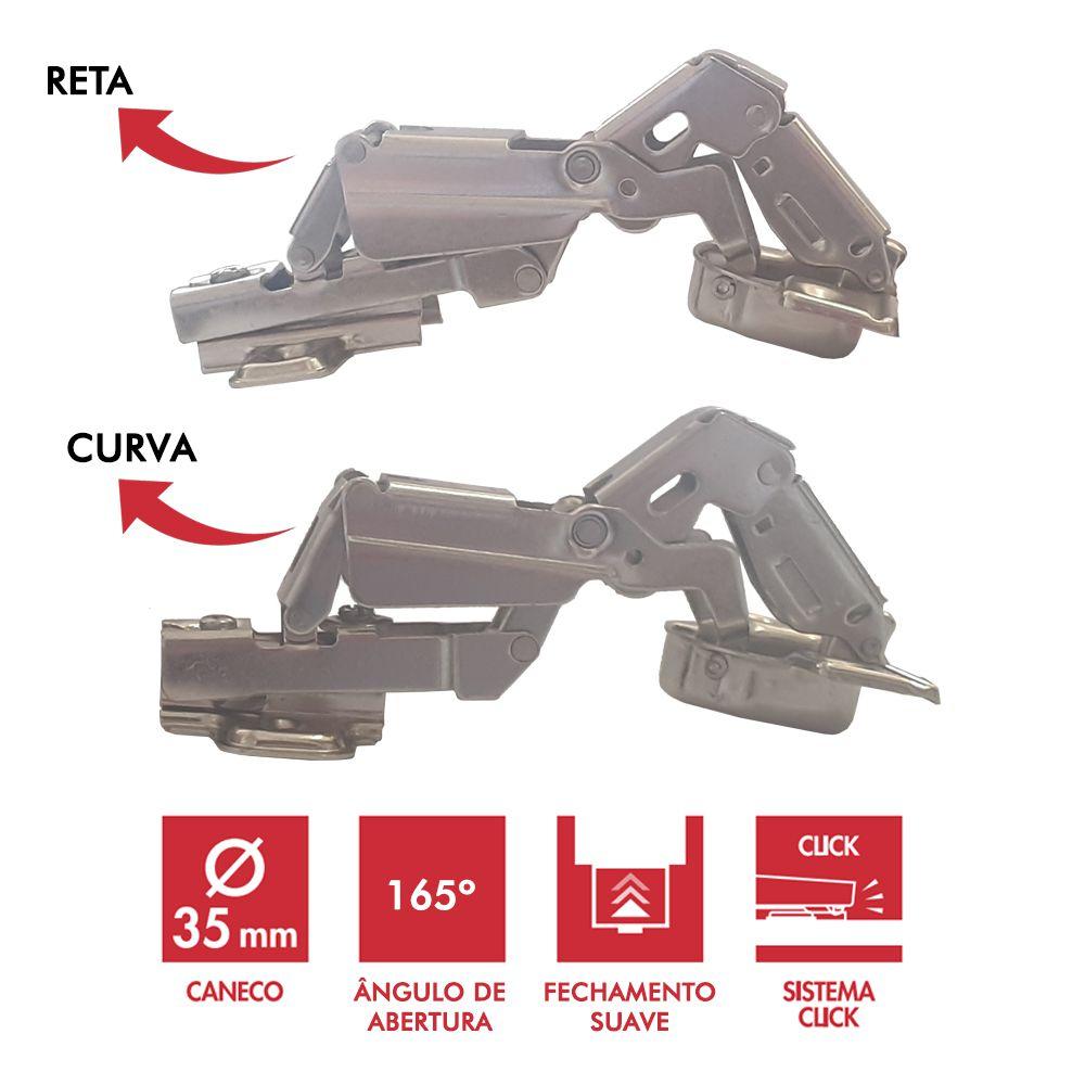 Dobradiça 35mm 165° c/ Amortecedor e Click Curva ou Reta