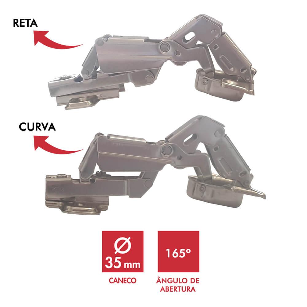 Dobradiça 35mm 165° Curva ou Reta