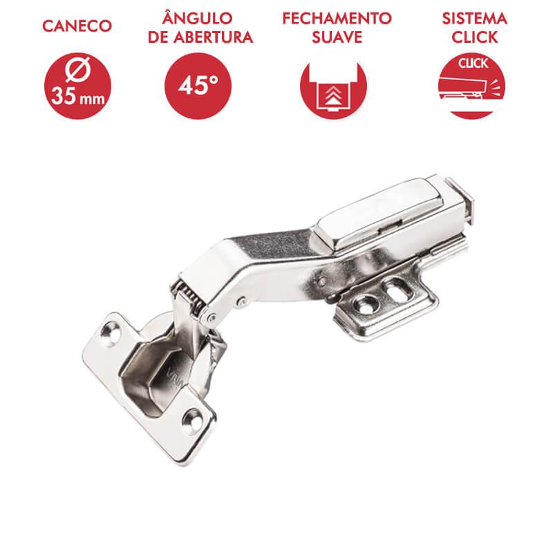 Dobradiça 35mm 45° com Amortecedor e Click