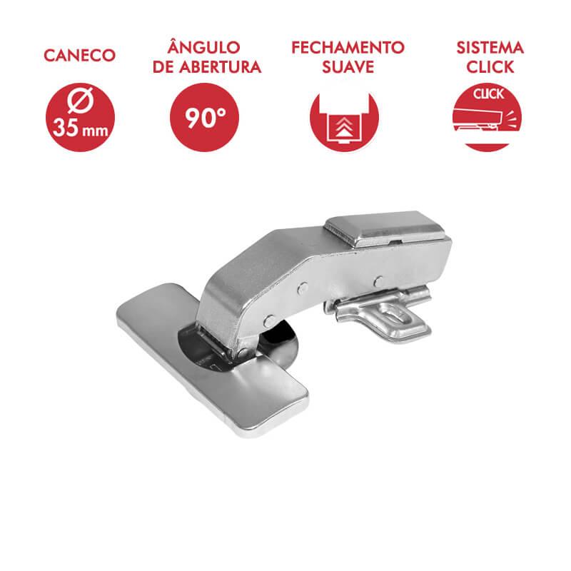 Dobradiça 35mm Angular 90 Graus com Amortecedor e Click
