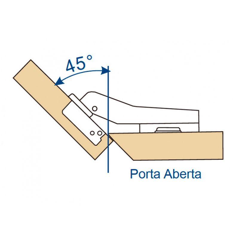 Dobradiça De Pressão 35mm Angular 45º