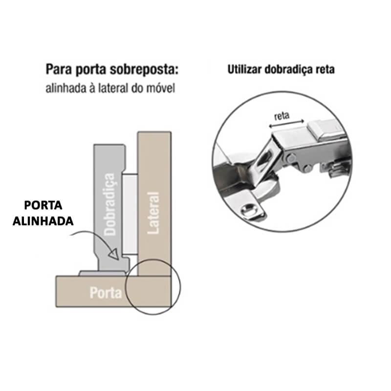 Dobradiça de pressão com amortecedor para móvel 35mm 110º calço fixo Pop