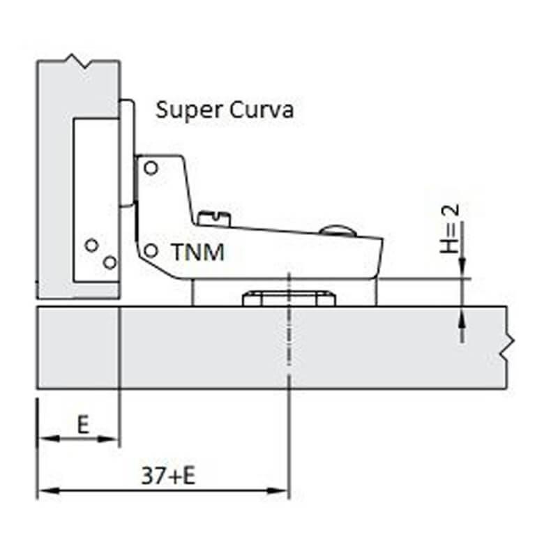Dobradiça de Pressão Convencional para Móvel 35mm 110º