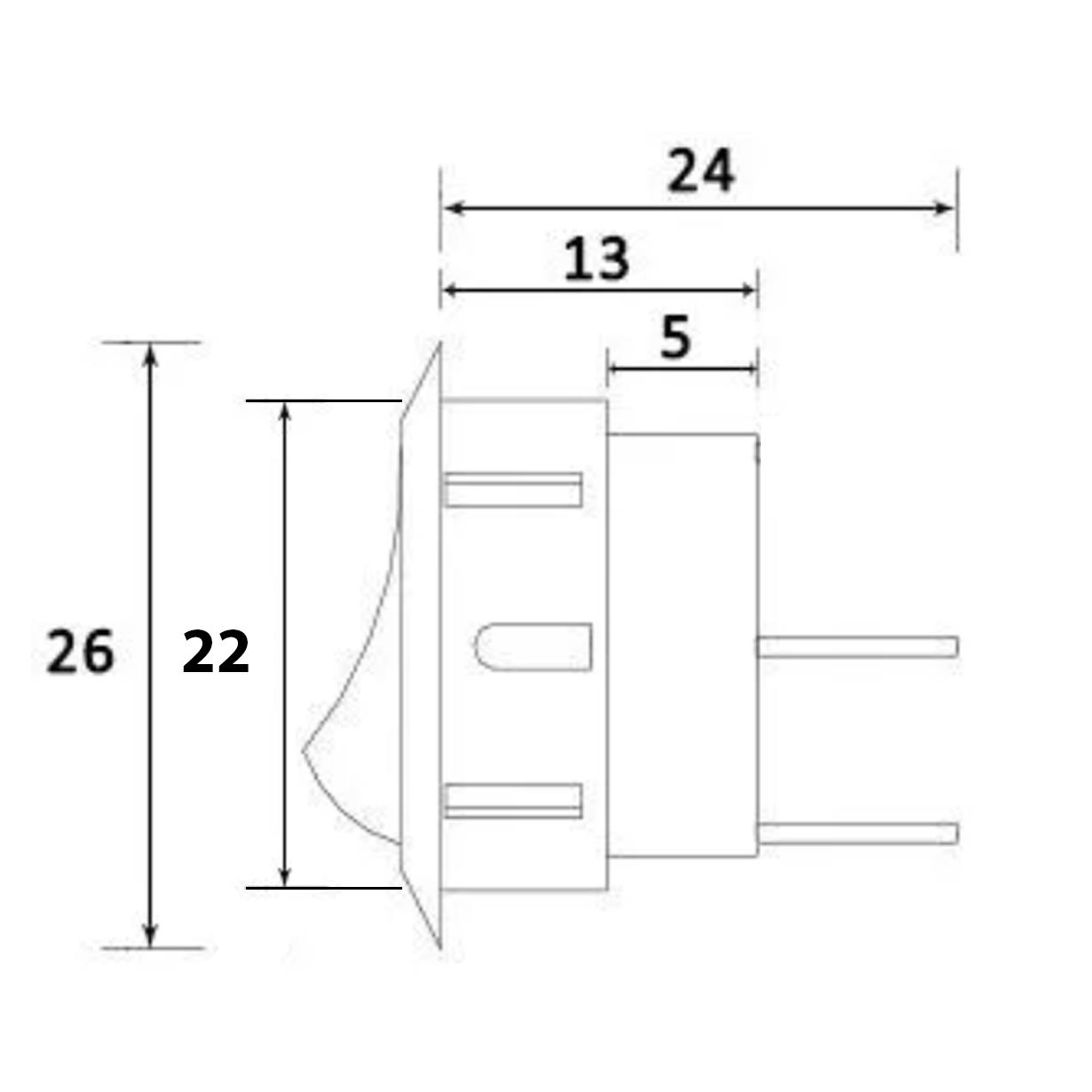 Interruptor Botão Redondo Simples Com Fio para Móveis