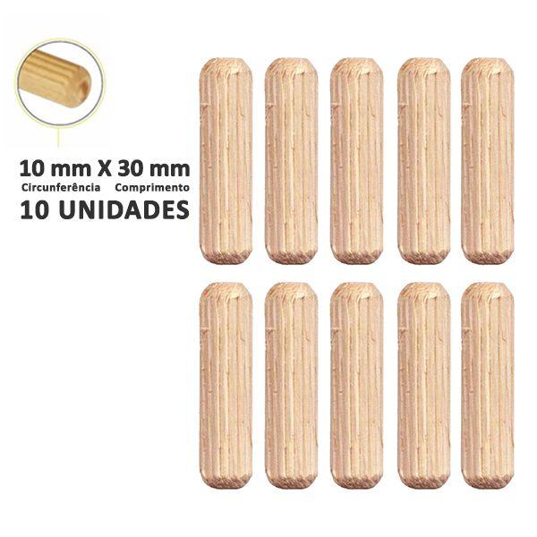 Kit Cavilha Madeira 10x40mm com 10 unidades
