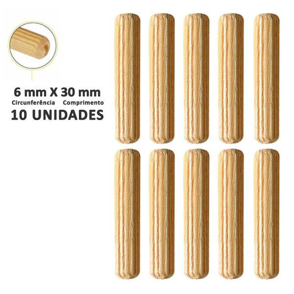 Kit Cavilha Madeira 6x40mm com 10 unidades