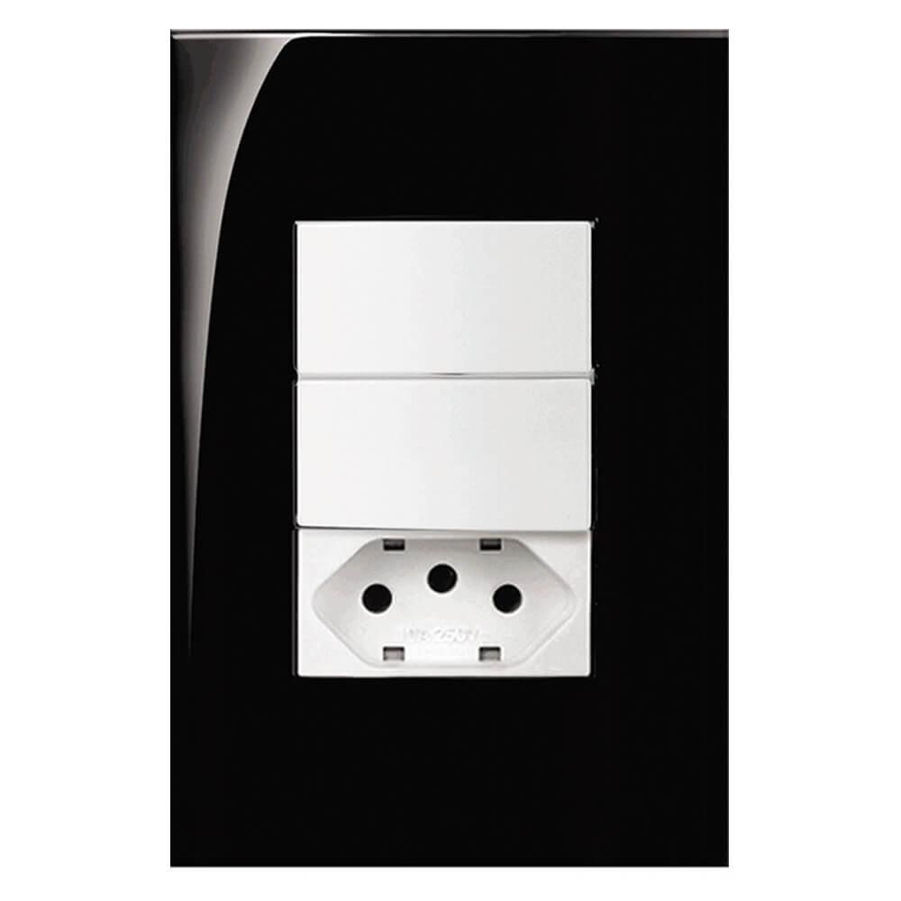 Conjunto completo 4x2 com 1 tomada e 1 interruptor Branco
