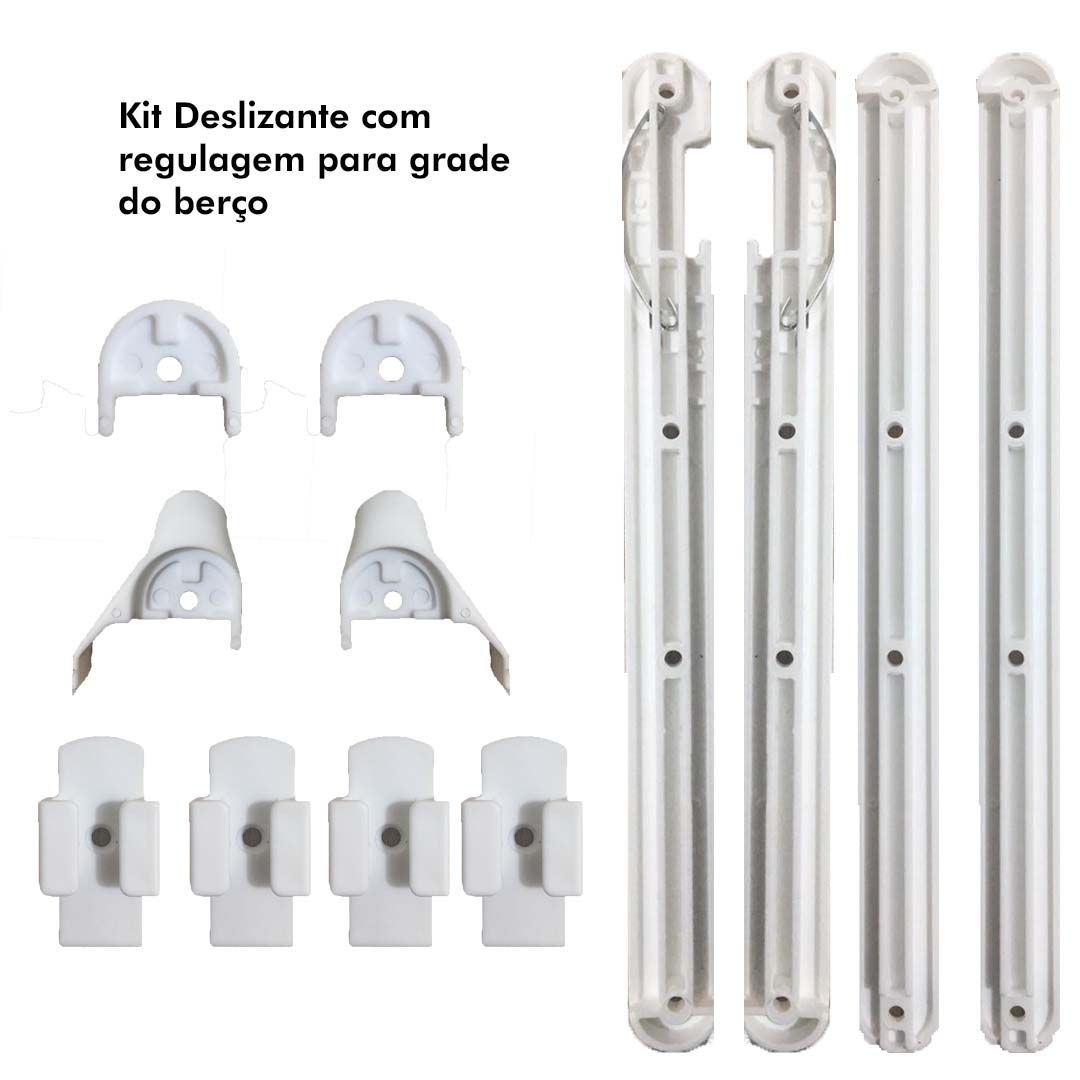 Kit Deslizante com regulagem para grade do berço