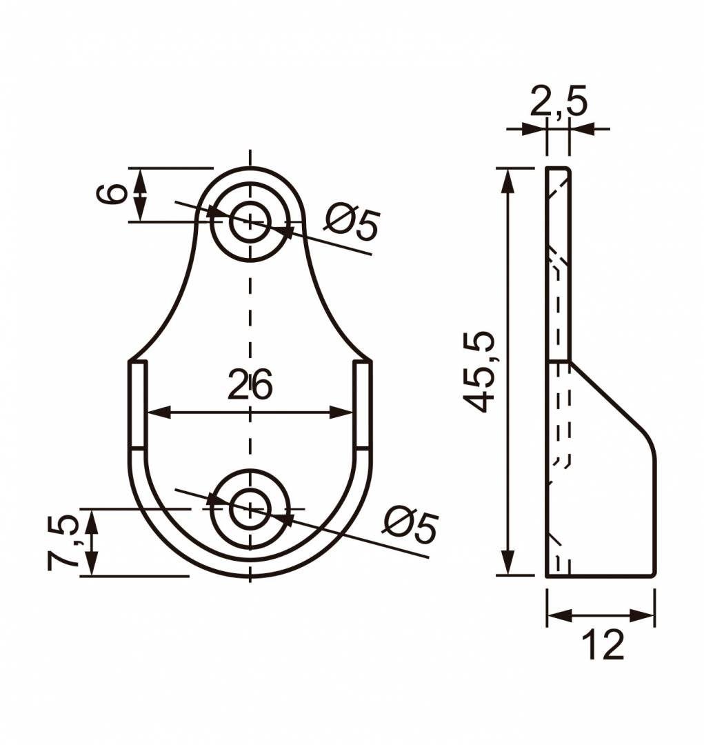 Kit Suporte Cabideiro Lateral para tubo Redondo CR c/ 10pçs