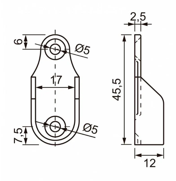 Kit Suporte Cabideiro Oblongo Lateral Cinza p/ Tubo Oval Fosco c/ 2pçs