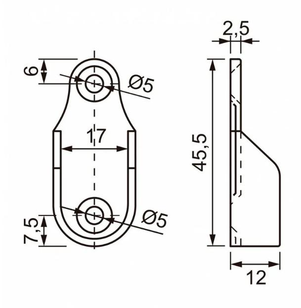 Kit Suporte Cabideiro Oblongo Lateral CR para Tubo Oval c/ 2pçs
